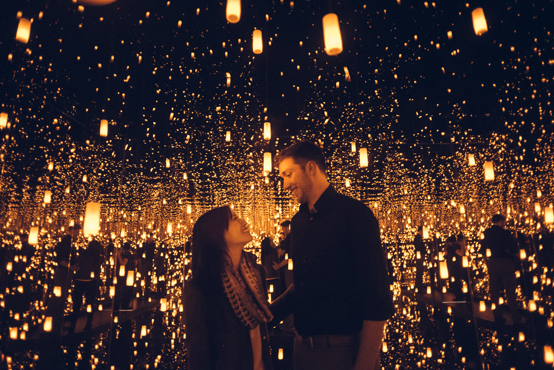 AJ Jan Yayoi Kusama Infinity Mirrors Proposal Engagement Photoshoot