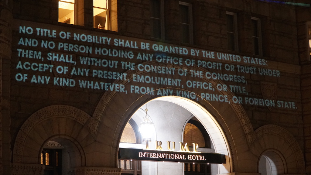 This DC Artist Projected the Emoluments Clause onto the Trump Hotel
