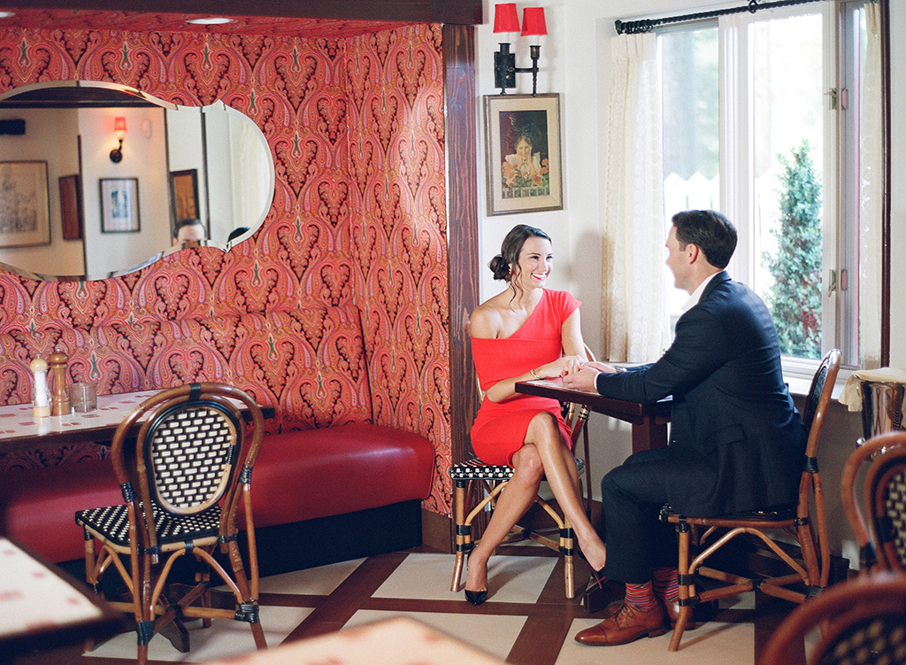 Ashley Julyan + Dustin Harris at L'Auberge Chez Francois | Audra Wrisley Photography French Engagement Shoot in Virginia