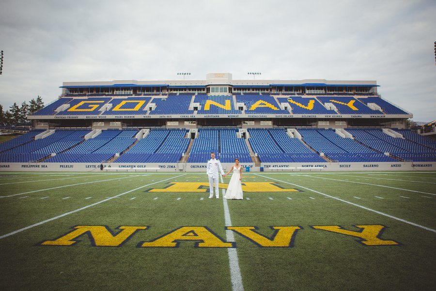 Nautical Portraits Navy Aviator Annapolis Wedding crew boathouse Navy-Marine Corps Memorial Stadium football field grace rich matthew murphy