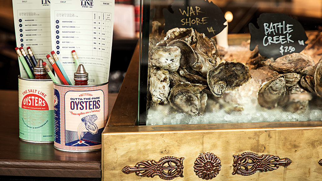 The raw bar shows off oysters from Virginia and New England.