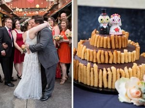 This Day-of-the-Dead-Themed Wedding at El Rey Started With Tacos and Margaritas and Finished With a Churro-Covered Cake