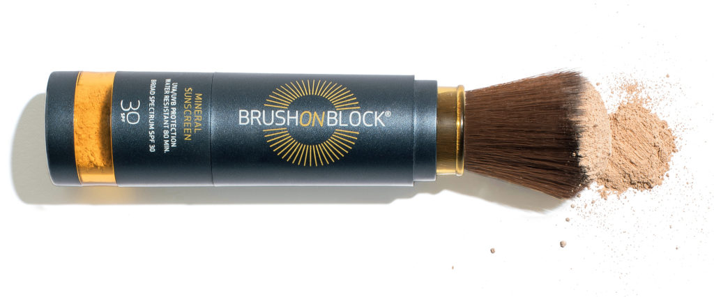 sweat-proof beauty products brush on block mineral sunscreen