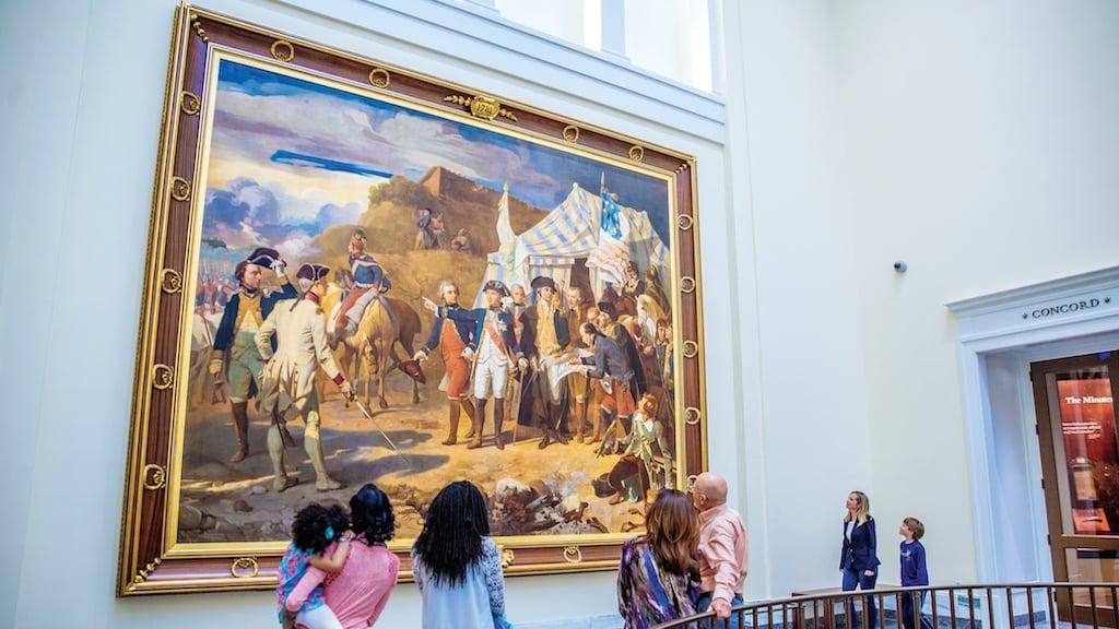 """Siege of Yorktown"" painting. Photograph by J. Fusco for Visit Philadelphia."