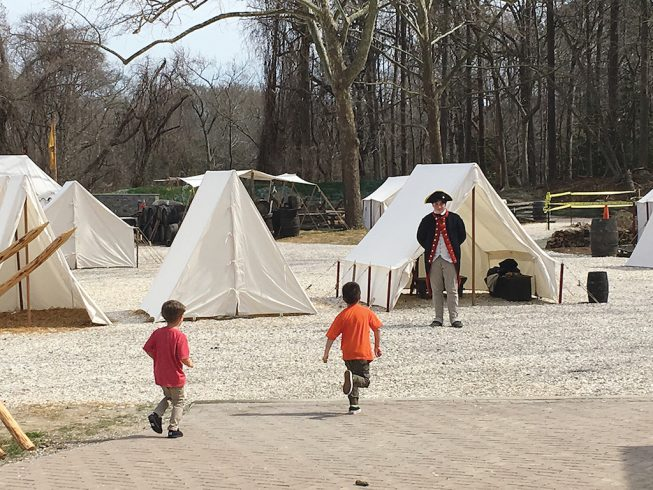 Army encampment. Photograph Courtesy of Virginia's American Revolution Museum at Yorktown.
