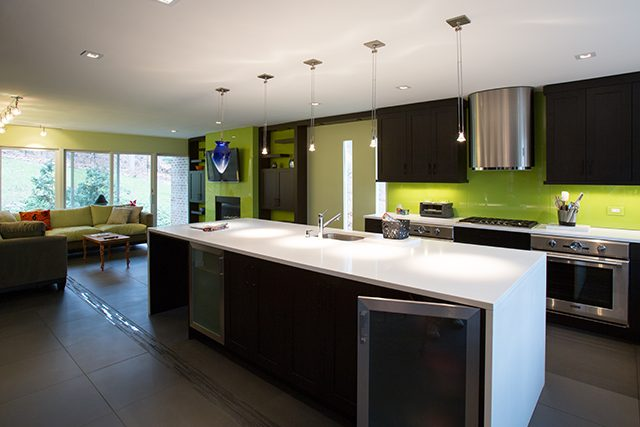 Great Kosher kitchen as brave and contemporary a kitchen as you can get in Silver Spring MD Aspen Hill Dura Supreme Cabinetry craftsman door cocoa brown with