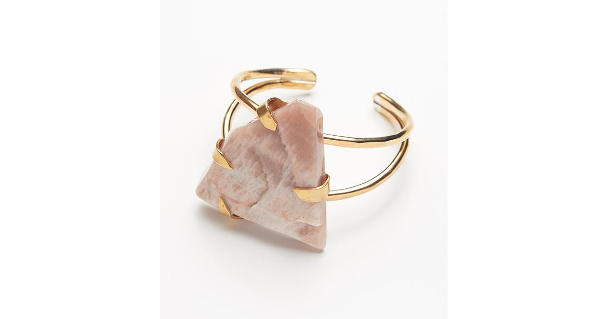 Chic Raw Stone Jewellery Natural Stone Jewelry Grey Natural Stone Cuff Bangle Vintage Copper Open Cuff Bracelet
