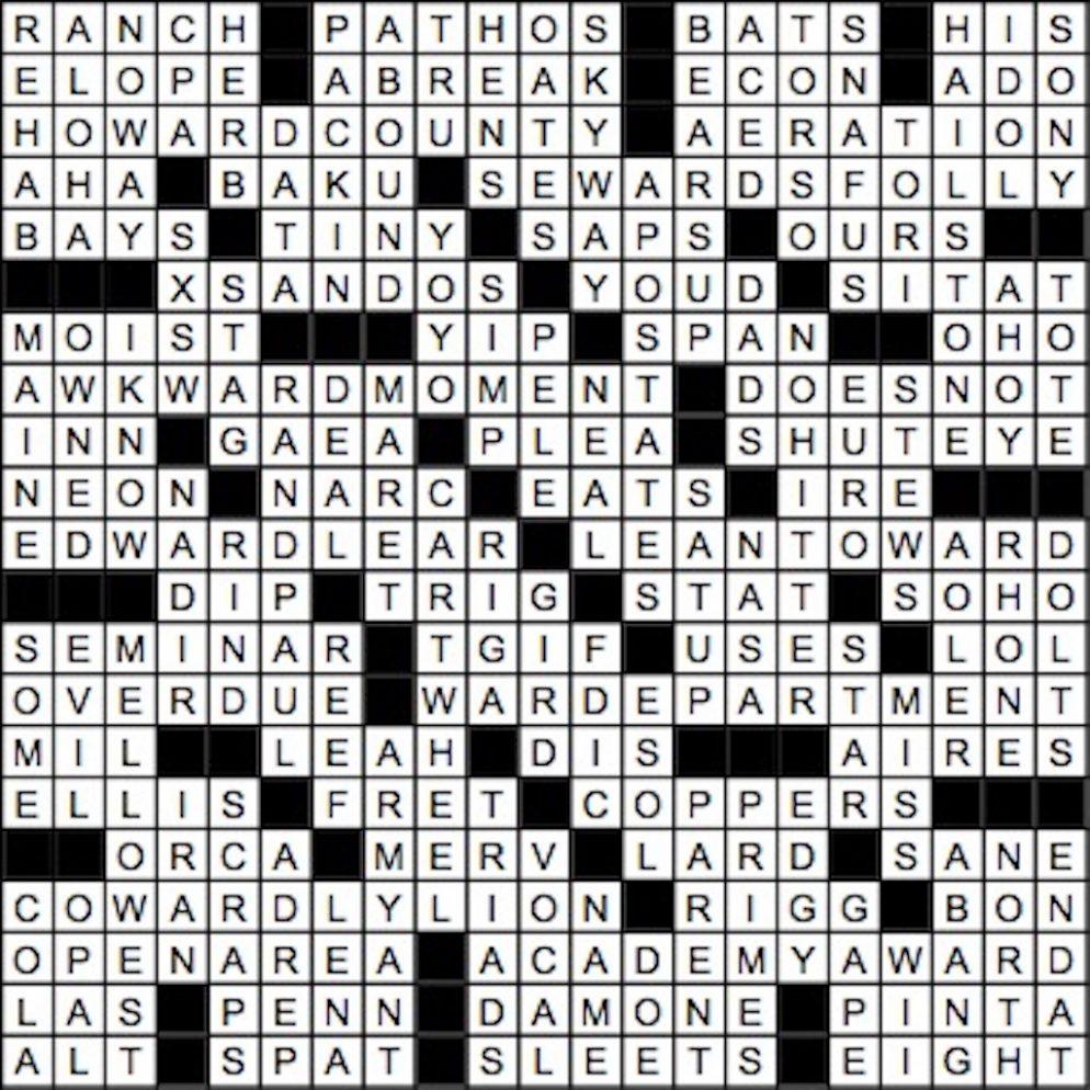 September 2017 Crossword Answer Key