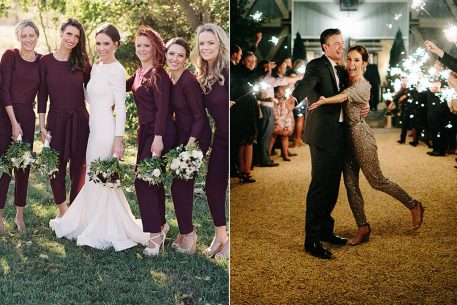 This Couple's Bridesmaids Wore Maroon Jumpsuits, and We're Obsessed