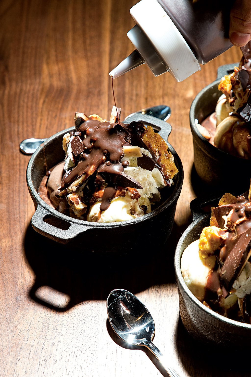 The Riggsby pastry chef Alex Levin's multi-textured brownie sundae. (No, it's not made with that kind of pot.) Photograph by Scott Suchman.