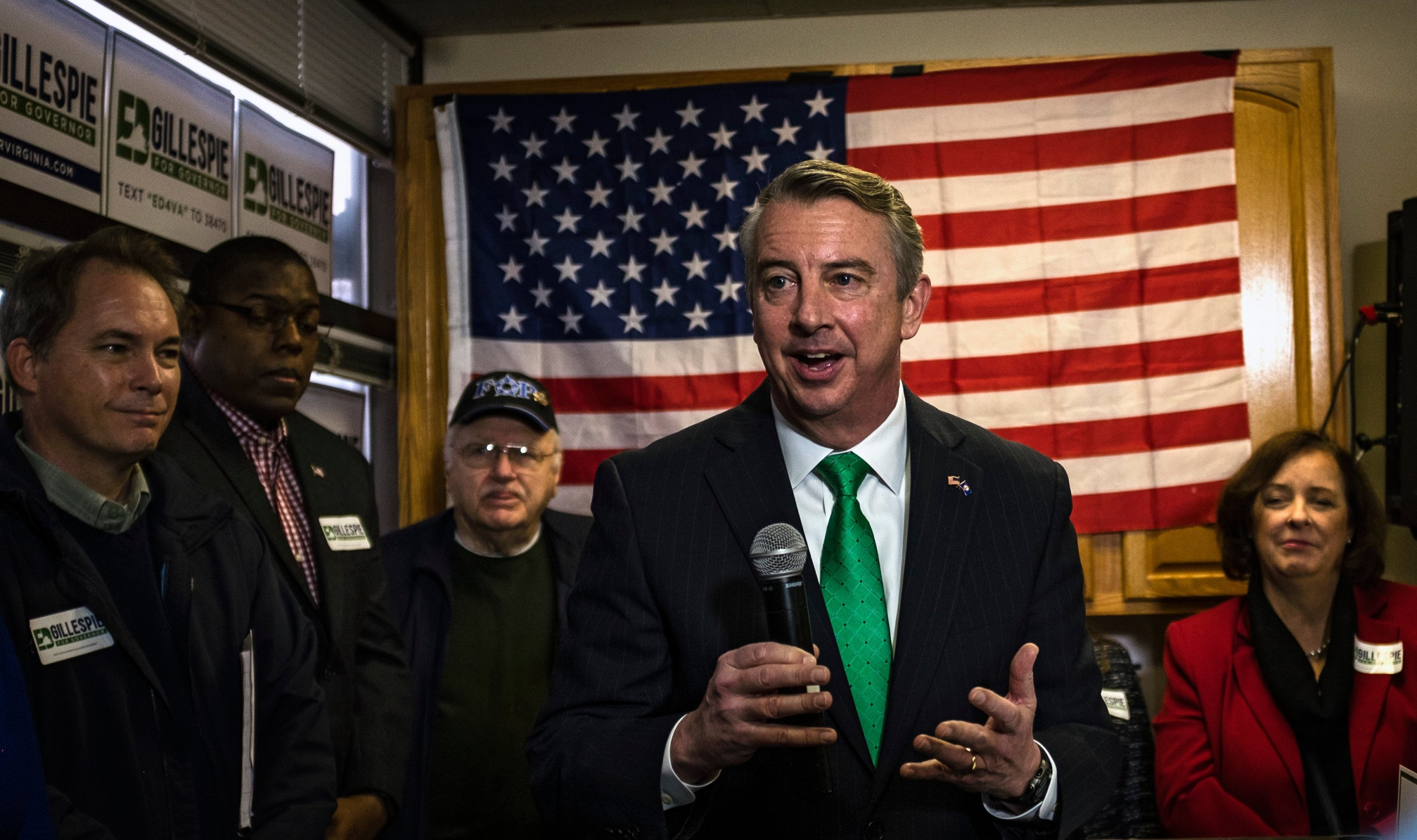 Gillespie campaigning in Chantilly. To win, he'll need to do well in moderate Northern Virginia. Photograph by J. Lawler Duggan/Washington Post via Getty Images.