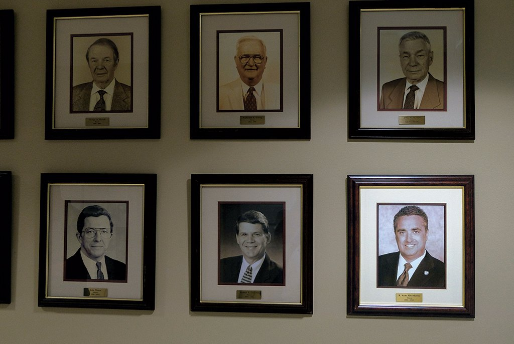 The wall of mayors' portraits at City Hall Annex. Silverthorne's father also held the job from 1978 to 1982. Photograph by Jahi Chikwendiu/Washington Post via Getty Images.