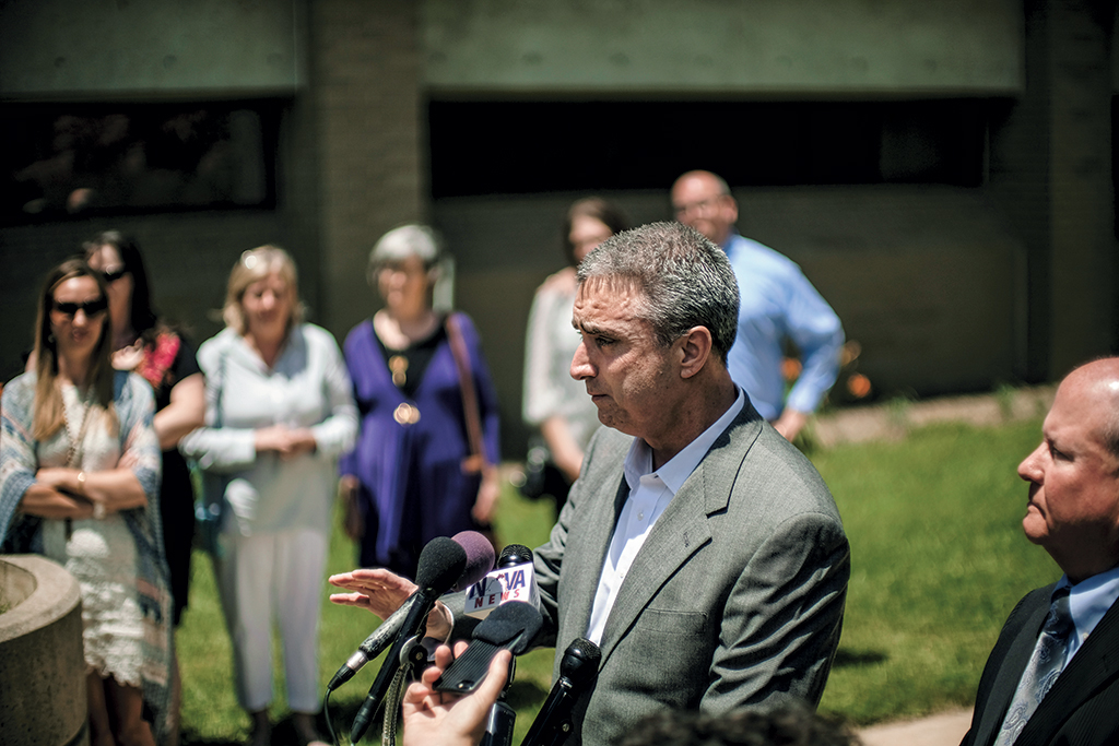 "Silverthorne speaks to reporters following his release in June. Before the scandal, he considered himself ""mayor of the best small city in America."" Photograph by J. Lawler Duggan/Washington Post via Getty Images."