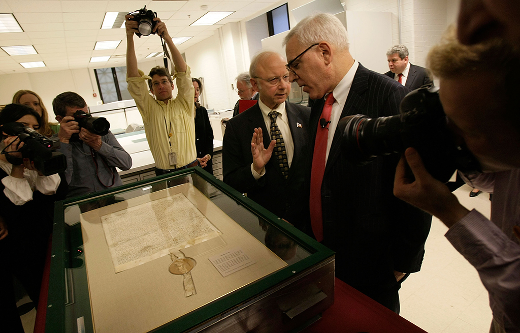 Rubenstein presents his copy of the Magna Carta to the National Archives. Rubenstein's philanthropy helped nudge his public image from connected financier to national treasure. Photograph by Getty Images.