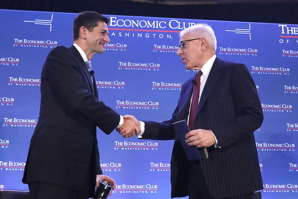 Rubenstein with Speaker of the House Paul Ryan. Photograph by Getty Images.