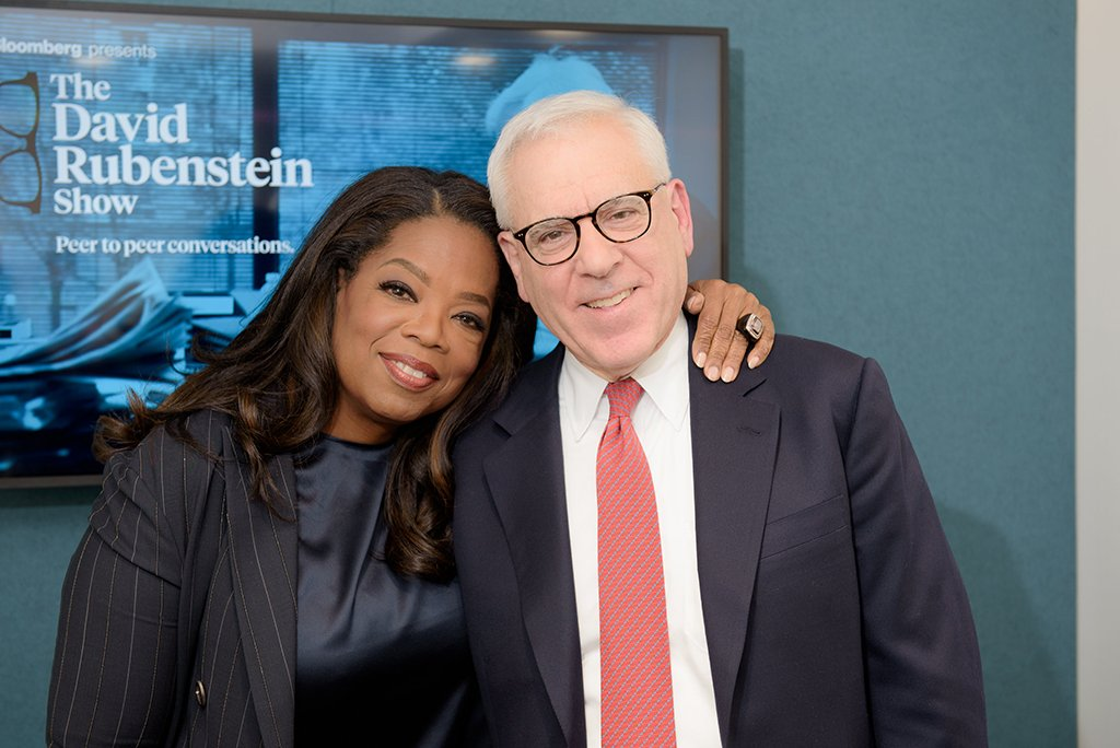 Rubenstein with Oprah. Photograph courtesy of Jean-Pierre Uys Photography/Bloomberg.