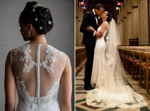 The Lace-Back Gown and Matching Veil at this National Cathedral Wedding are Pure Glamour