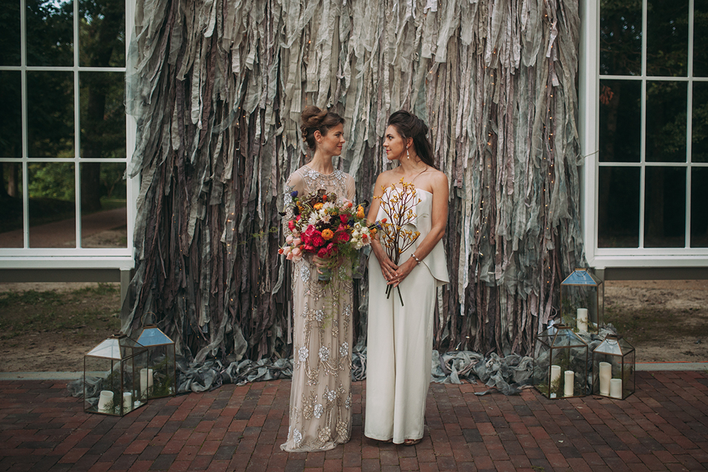Two Stylish Brides, One VERY Gorgeous Venue: We Love The Anniversary Photos at this Cool Outdoor Church in Virginia