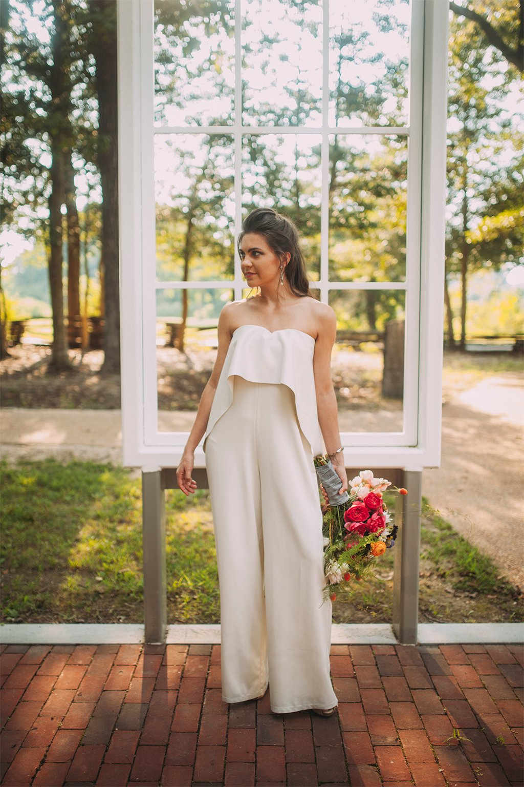 virginia polegreen church historic outdoor church Bethany Frazier and Ashleigh Lum Ruie & Grace insanely stylish bridal jumpsuit