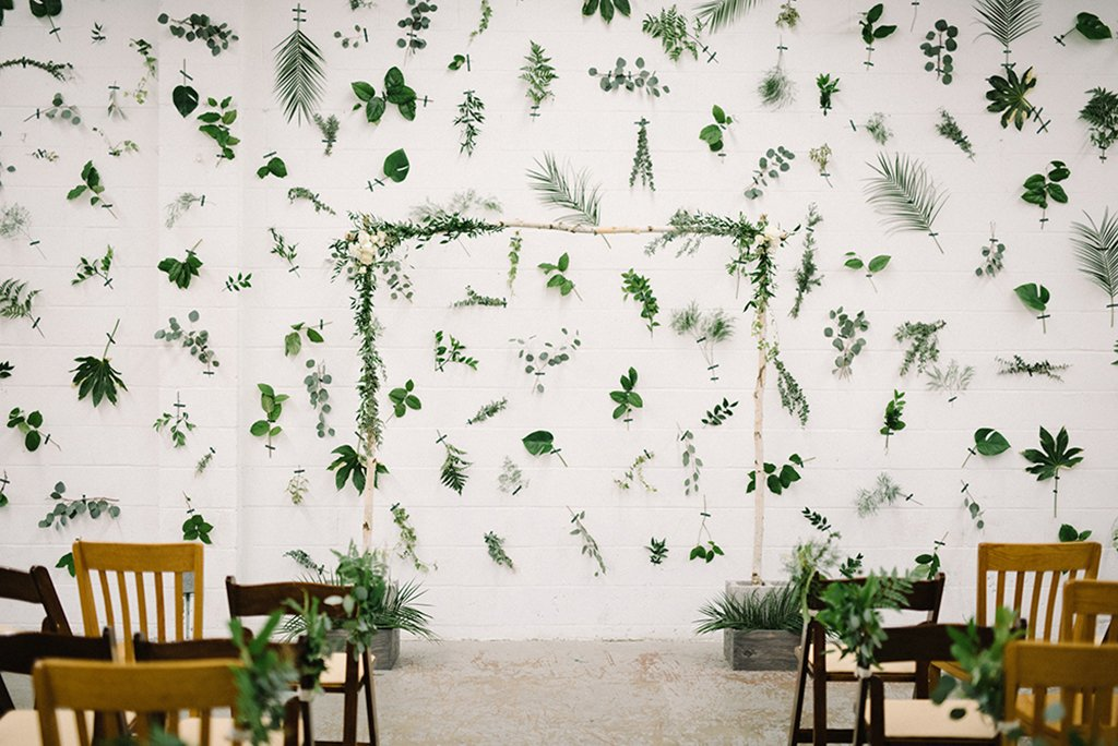 plant wall modern brewery industrial wedding 7 locks brewing the kama photography
