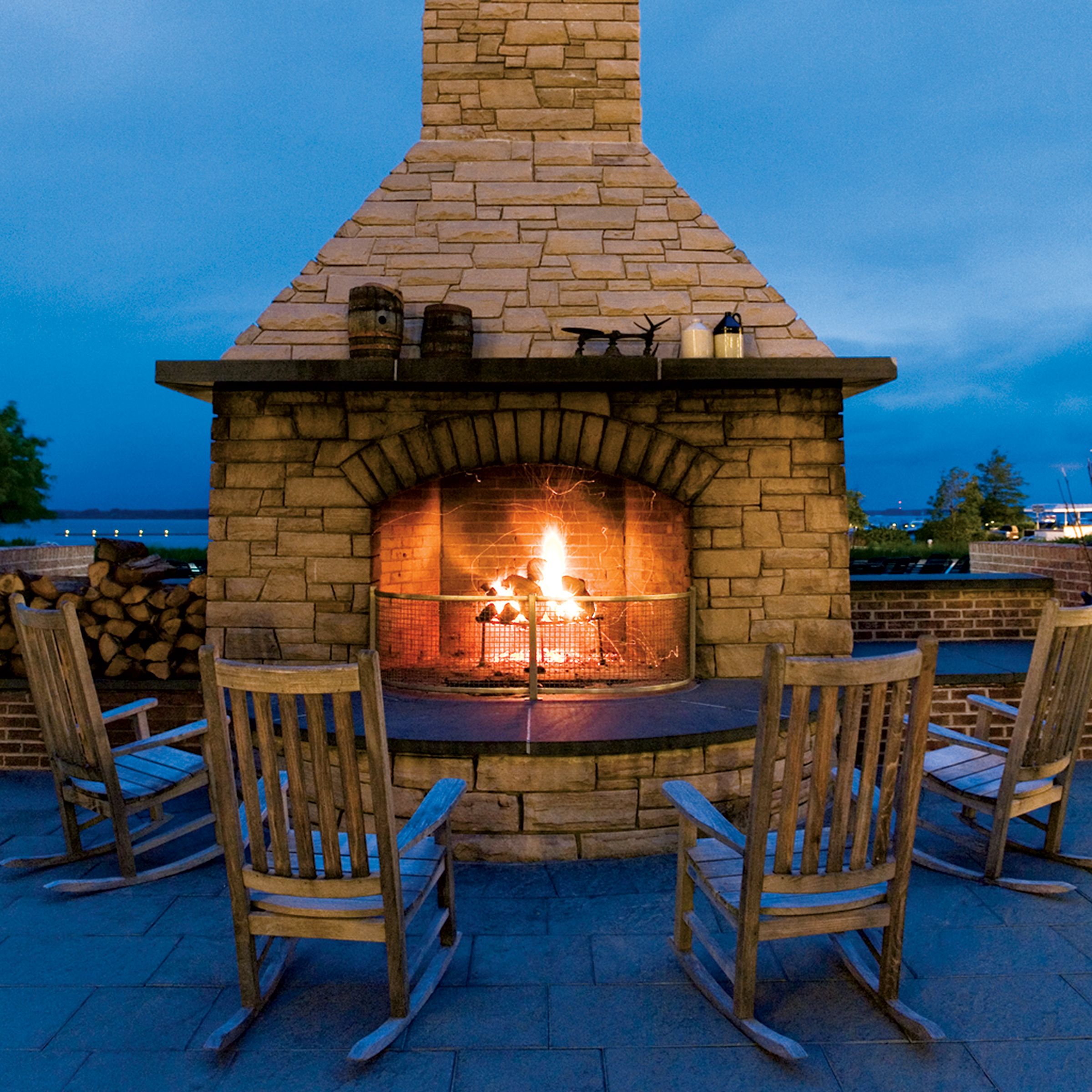 The cozy fireplace at the Hyatt Chesapeake. Photograph Courtesy of Hyatt Chesapeake.