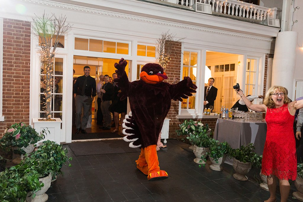 Virginia Tech-themed wedding officiant surprise with hokie mascot Sarah Keim Brian Dohn