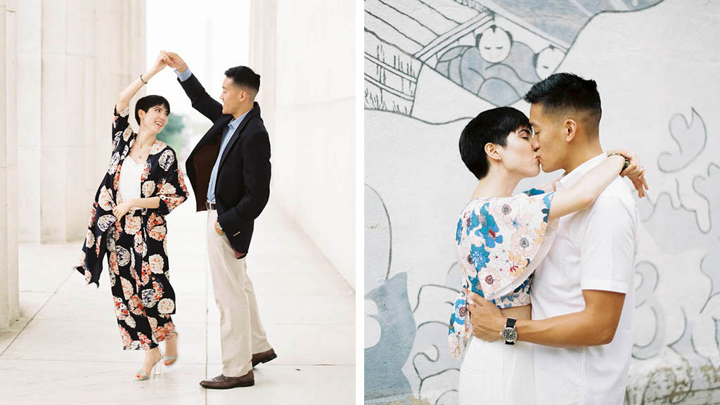 A Floral Kimono, Matching Pants, and Lucite Heels: This Stylish Lincoln Memorial Shoot is the Engagement Outfit Inspo You've Been Looking For
