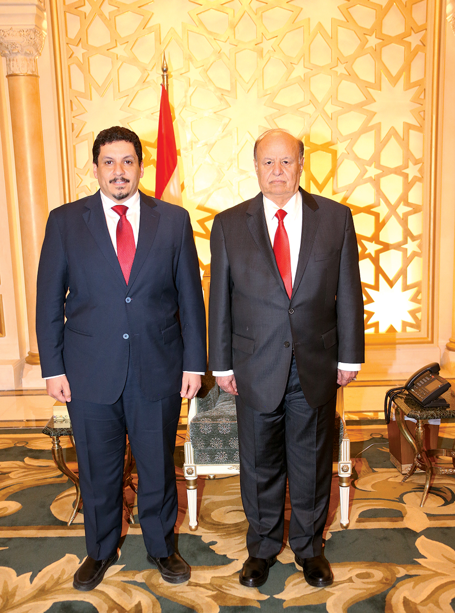 Yemeni president Abdu Rabbu Mansour Hadi, right, was forced into exile in 2015 by militants loyal to his predecessor. Photograph courtesy of Ahmed Awad bin Mubarak.
