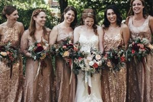 We Want to Wear The Shimmery Gold Bridesmaid Dresses in this DC Wedding All Season Long