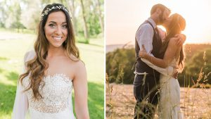 For Her Maryland Wedding, This Redskins Cheerleader Traded in Her Burgundy Uniform for a Lace Martina Liana Gown and a Flower Crown