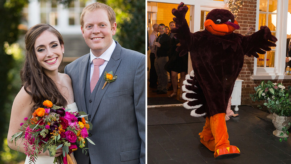 The Officiant Surprised These Virginia Tech College Sweethearts by Inviting the Hokie Mascot to Their Wedding