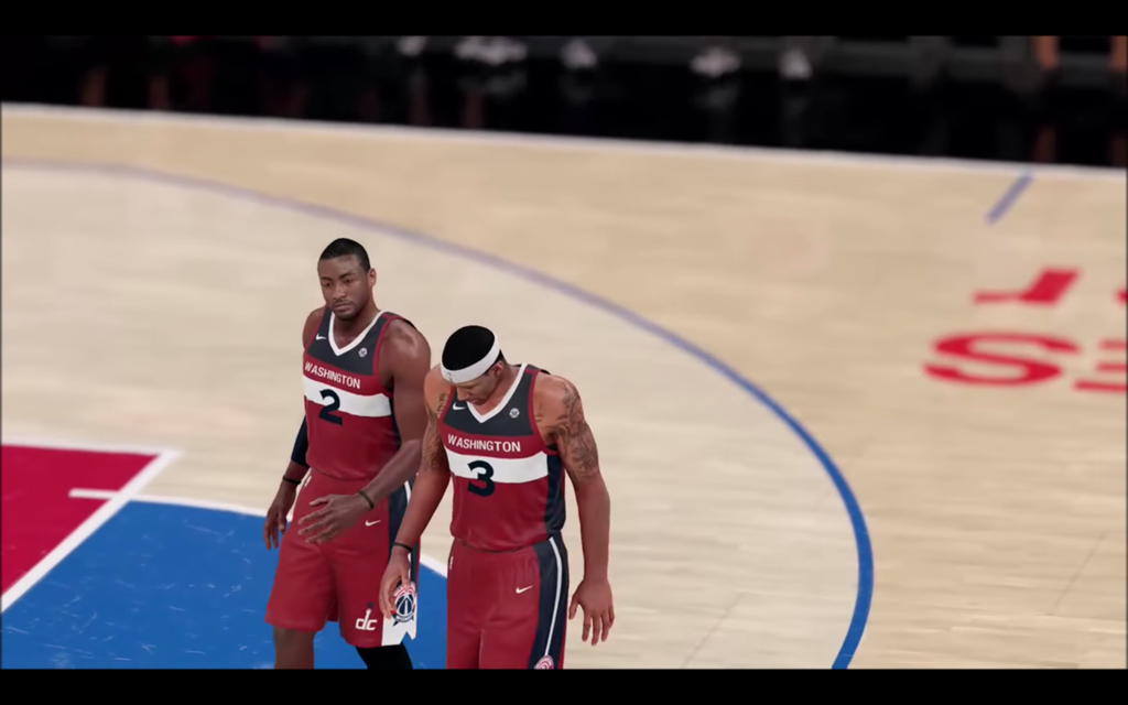 aedf5a026 Digital versions of John Wall and Bradley Beal walk off the court during a  Wizards-Clippers game in NBA 2K18. Screenshot via YouTube.