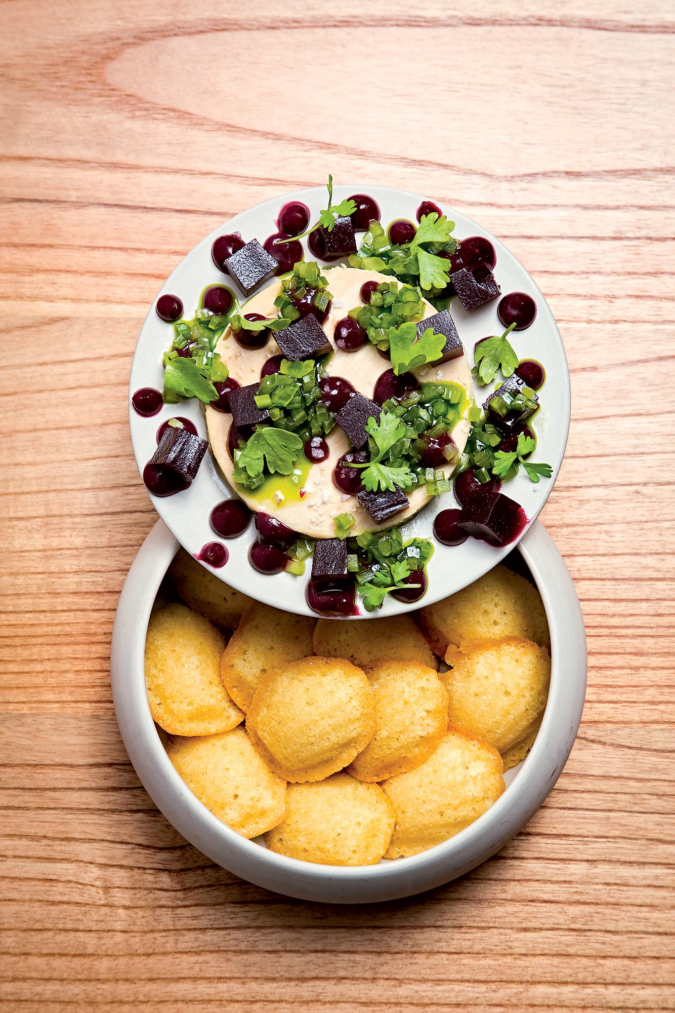 "Foie gras ""PB&J"" with madeleines."