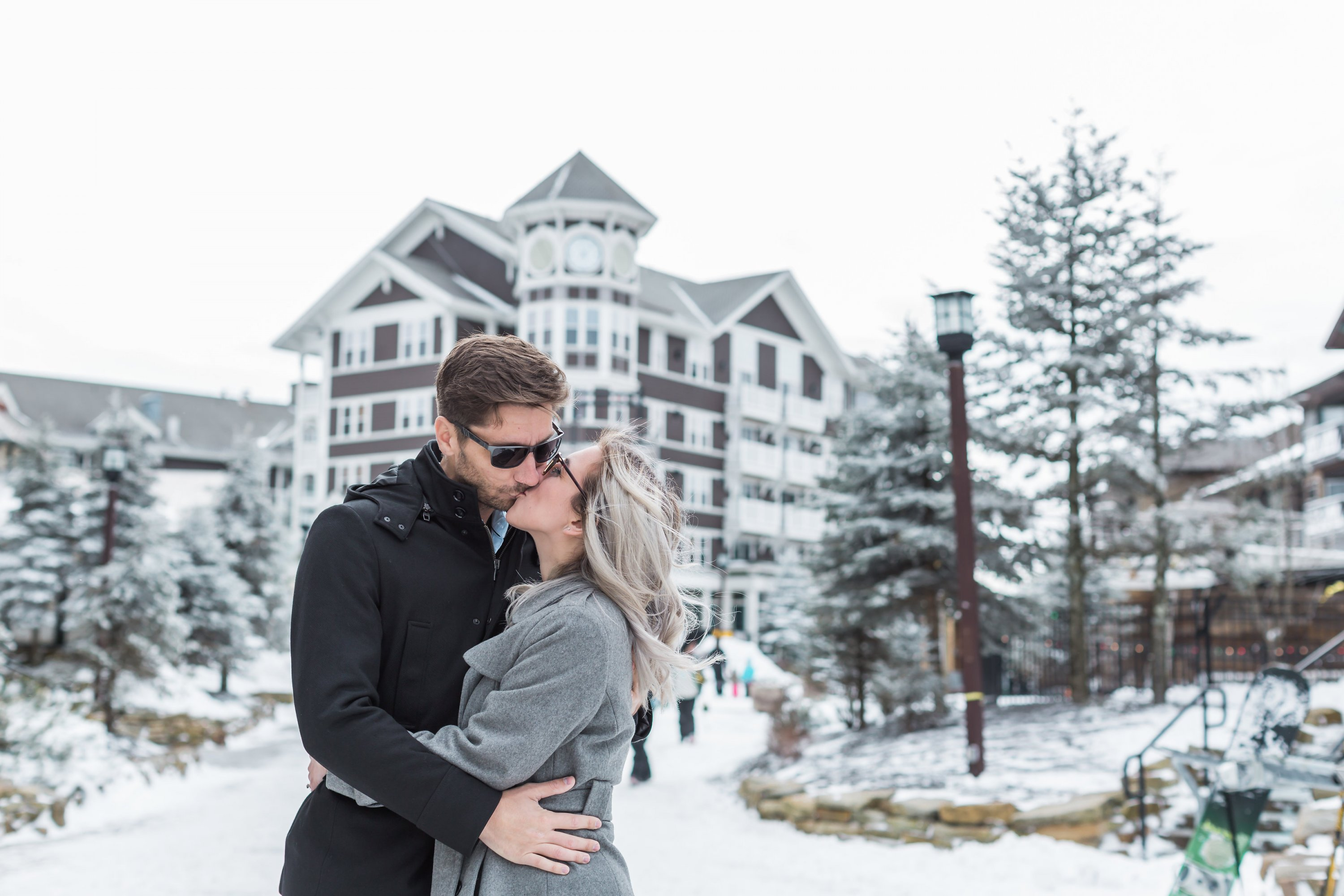 snowshoe mountain resort west virginia DC couple engagement wintery weekend getaway snow engagement snowy engagement