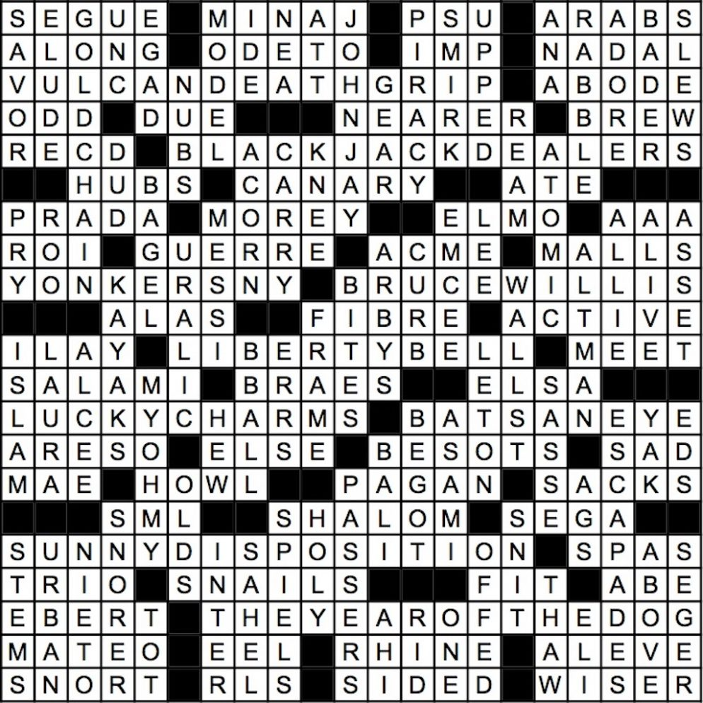 January 2018 Crossword Answer Key