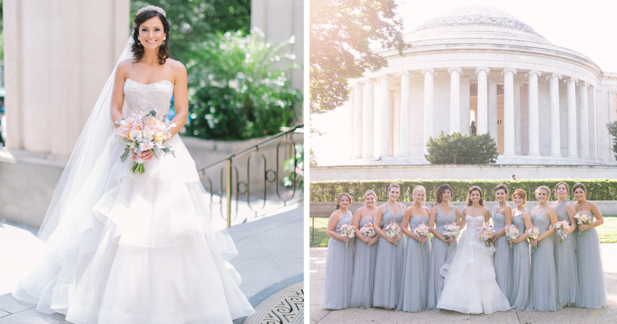 This Bride\'s Classic Monique Lhuillier Gown and Sparkly Tiara Are ...