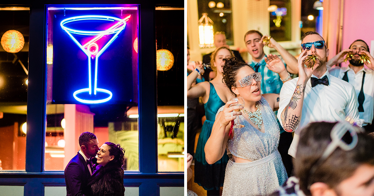 Best NYE Ever: A Punk-Rock-Prom Themed Wedding at a Pool ...