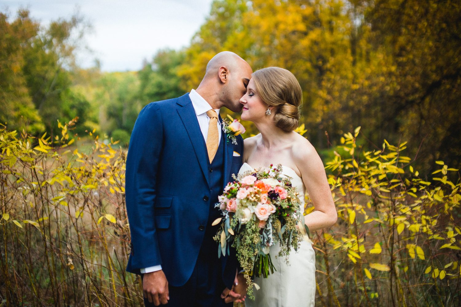 This Fall Wedding Blended his South Indian Culture with her Rural Roots Against the Changing Leaves at Woodend Sanctuary