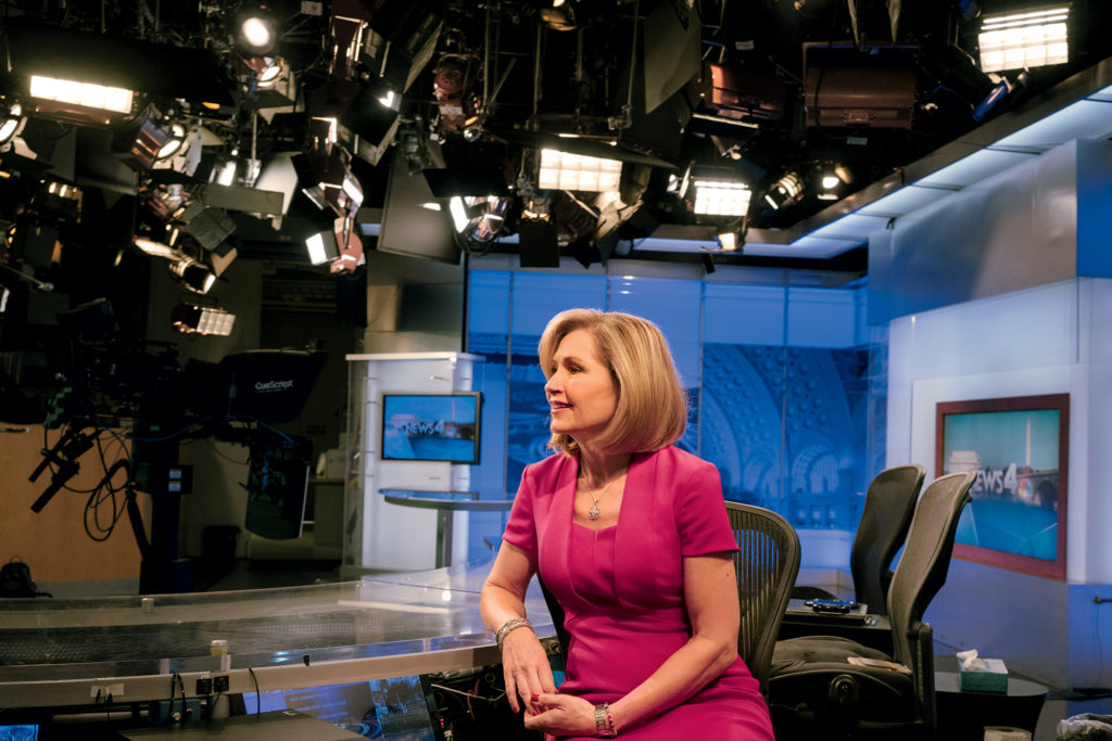 Doreen Gentzler photographed on the News4 set on December 21, 2017. Photograph by Lexey Swall.