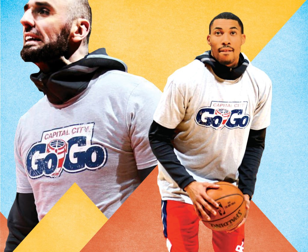 Wizards stars Marcin Gortat and Otto Porter Jr. sport Go-Go gear. Photo-illustration with photographs courtesy of Monumental Sports & Entertainment.