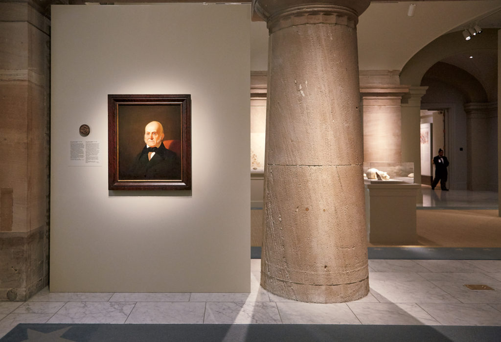 A painting of John Quincy Adams hangs next to the spot in the National Portrait Gallery where the historic photo will be on display. Photograph by Jeff Elkins.