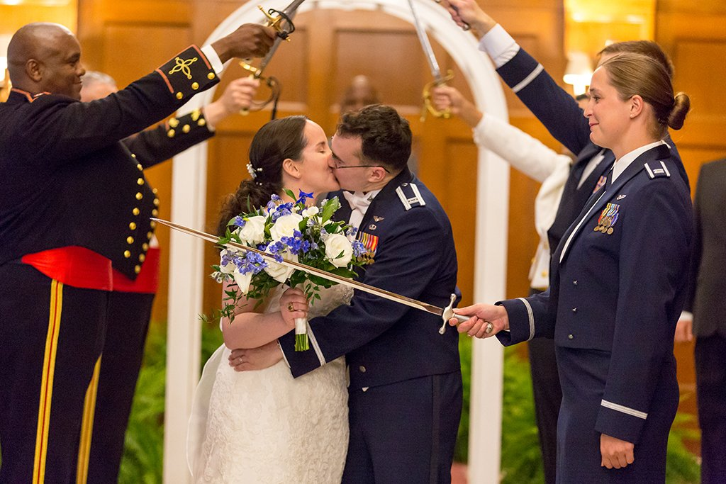 This Naval Officer Bride Unwittingly Smuggled Her Own Engagement Ring Overseas to Her Air Force Officer Groom images 5