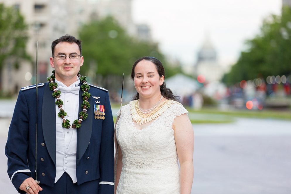 This Naval Officer Bride Unwittingly Smuggled Her Own Engagement Ring Overseas to Her Air Force Officer Groom