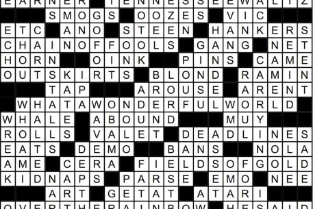 February 2018 Crossword Answer Key