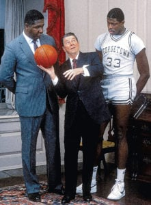 John Thompson Jr. and Ewing with President Reagan 