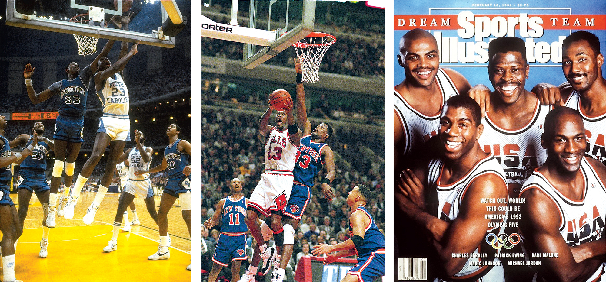 Ewing and Michael Jordan were college foes, rivals in the NBA, and starters on 1992's Dream Team. Images from left: Photograph by Heinz Kluetmeier/Sports Illustrated/Getty Images; Photograph by Jonathan Daniel/Getty Images; Photograph by Theo Westenberger/