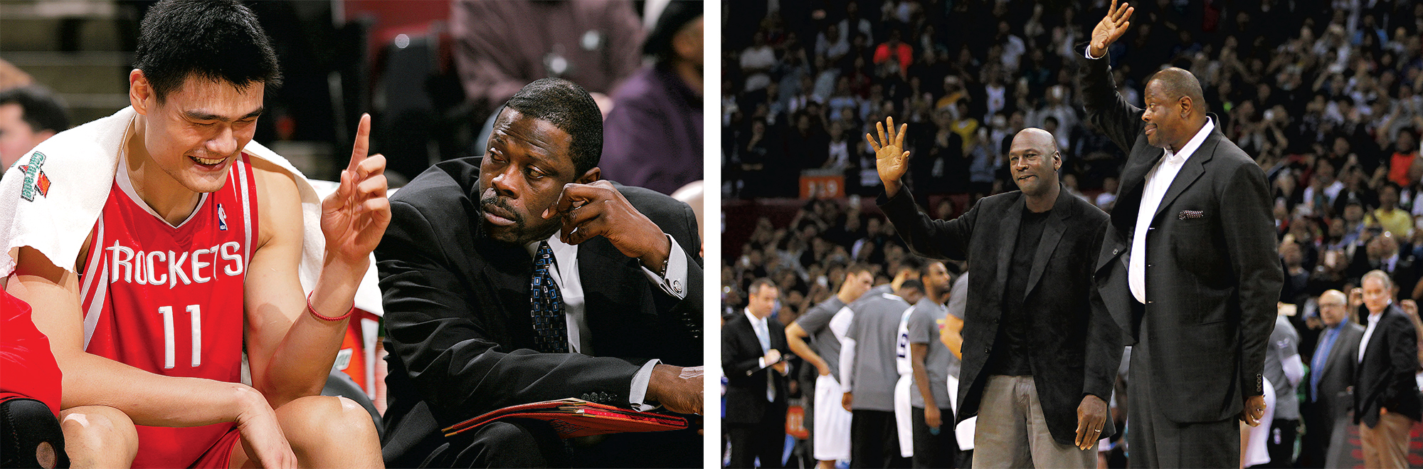 Left, Ewing as an assistant with the Houston Rockets, offering advice to Yao Ming. Photograph by Jonathan Daniel/Getty Images. Right, with Jordan at the 2015 NBA Global Games in China. Photograph by Zhong Zhi/Getty Images.