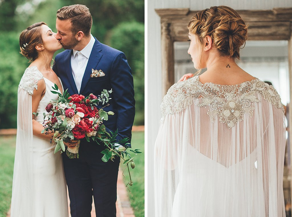 This Virginia Bride Stole The Show With A Stunning Embroidered Wedding Cape She Found On Etsy