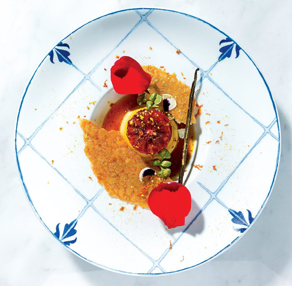 Flan with blood orange at Del Mar, a Spanish restaurant at the Wharf. Photograph by Scott Suchman.