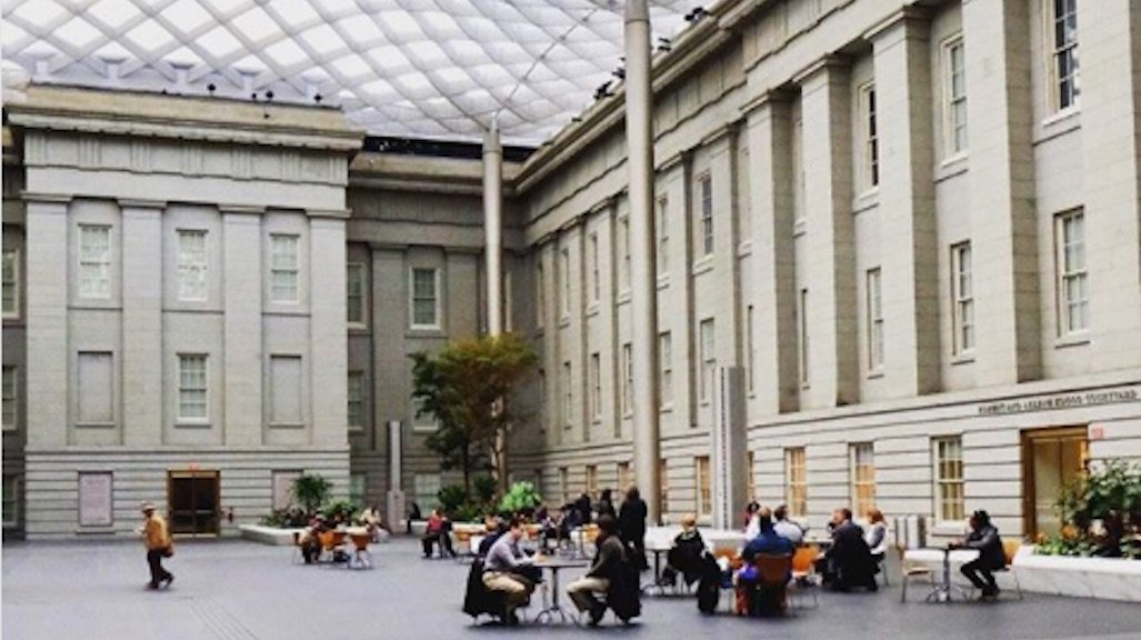 The Kogod Courtyard shared by the Smithsonian American Art Museum and the National Portrait Gallery. Image courtesy of @aurajeanmarie.
